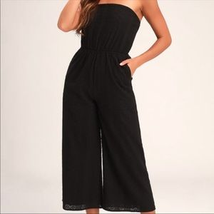 Lulu's Sunlight Special Black Embroidered Jumpsuit